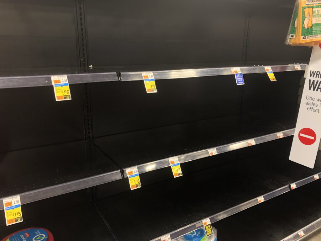 empty shelves still exist in many places; this will affect holiday shopping as well. Photo by Keith Shaw.